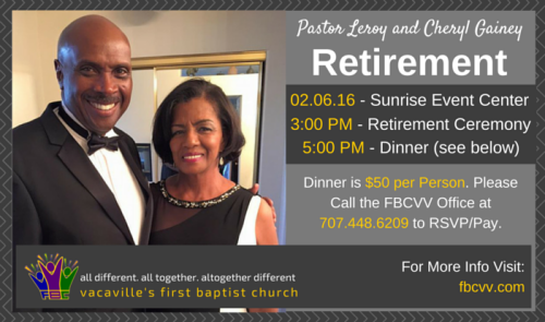 Pastor Leroy and Cheryl Gainey Retirement