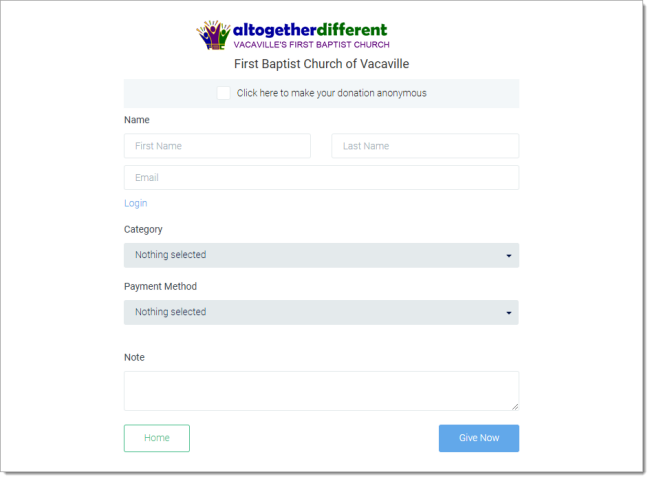 View of the FBCVV Grplife online giving form.